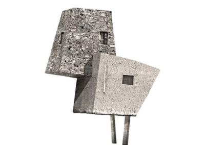 Pequeña Estructura XIII - casita bípeda - 60 x 60 cm.